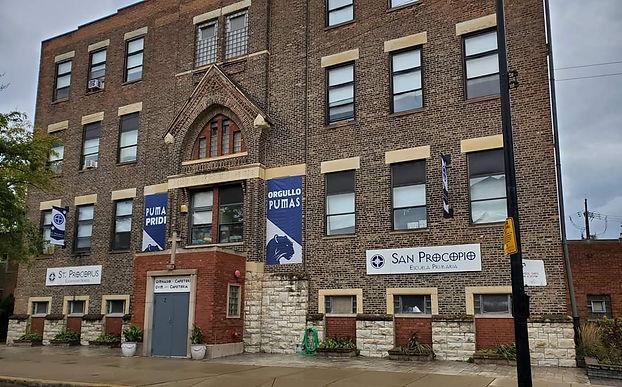 St Procopius School with signs 10-2019.j