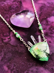Misty Forest Crystal Crown Necklace