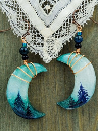 Forest Crescent Moon Earrings