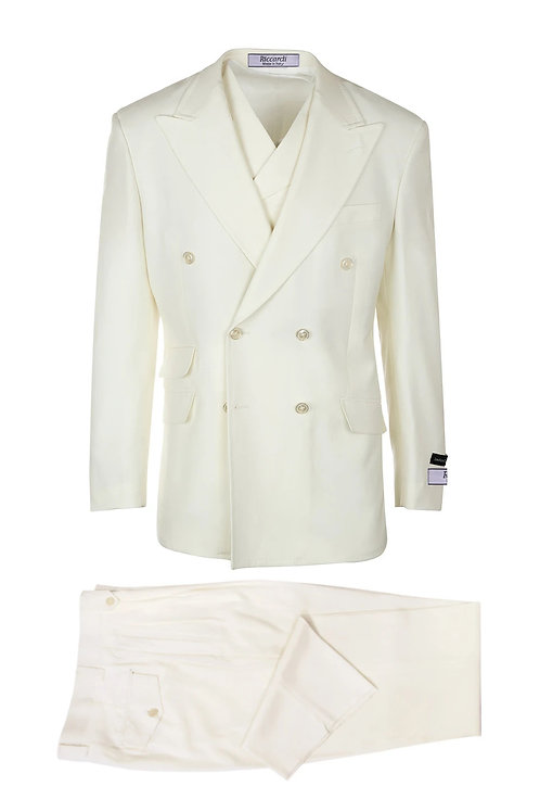 Off White, Pure Wool, Wide Leg Suit & Vest by Riccardi clothier Off-White