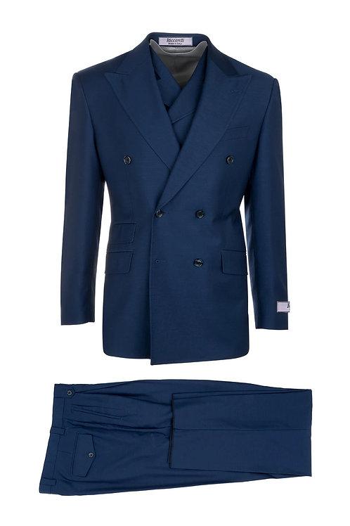 French Blue, Pure Wool, Wide Leg Suit & Vest by Riccardi clothier EST F.BLUE