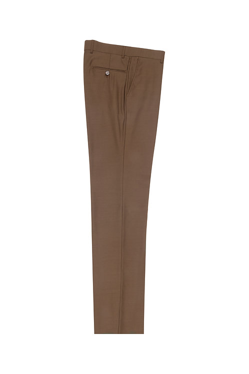 Tobacco Flat Front, Pure Wool Dress Pants by Riccardi Clothier TOBACCO