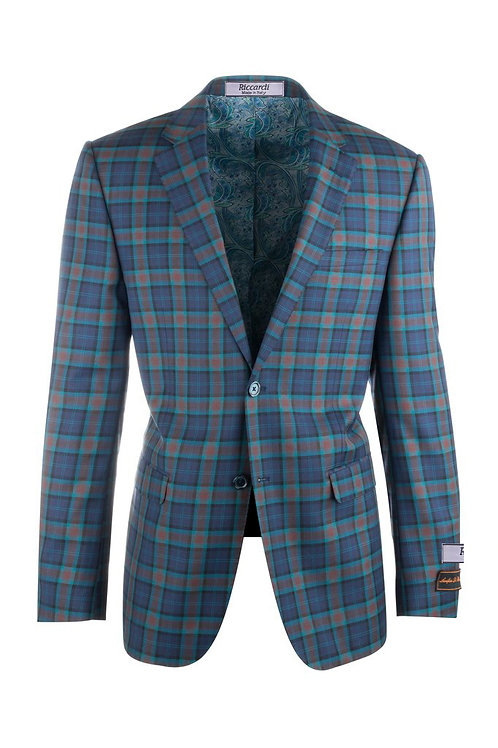 Sangria Blue with Orange and Turqouise Plaid Pure Wool Jacket 32210/2