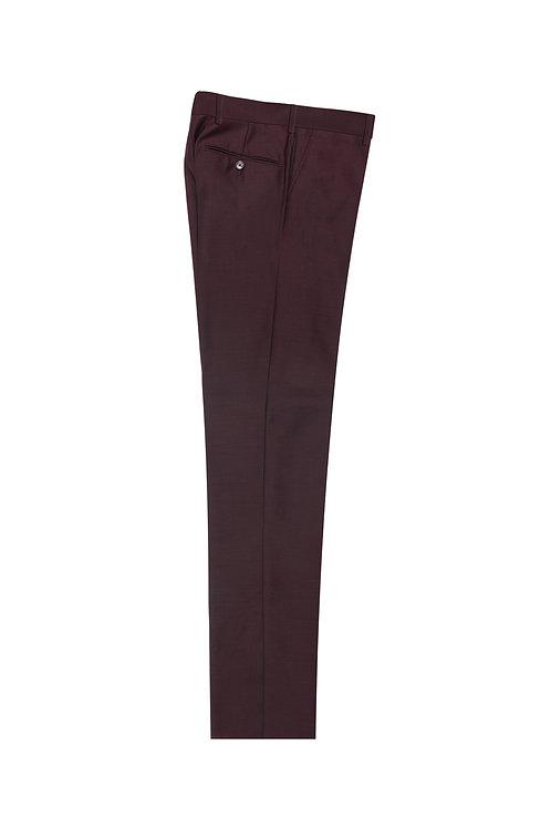 Burgundy Flat Front, Pure Wool Dress Pants by Riccardi Clothier BURGUNDY