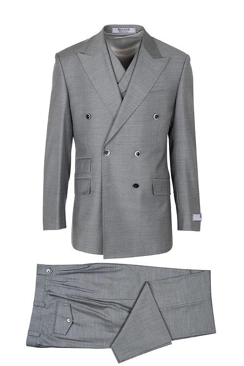 Light Gray, Pure Wool, Wide Leg Suit & Vest by Riccardi clothier E09063/26
