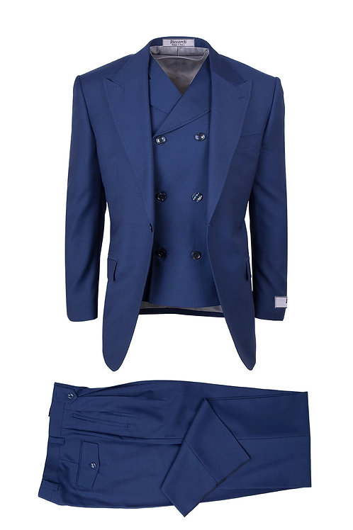 San Giovesse , Pure Wool, Wide Leg S&V by Riccardi Clothier F.BLUE