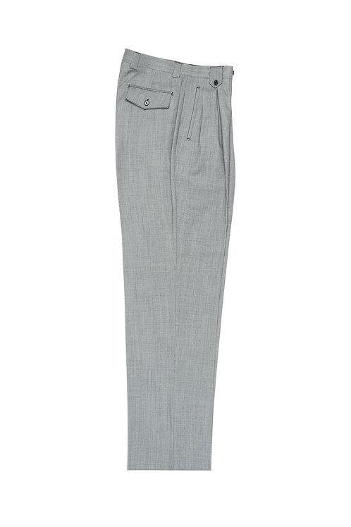 Light Gray Birdseye Wide Leg, Pure Wool Dress Pants by Riccardi Clothier RIC1018