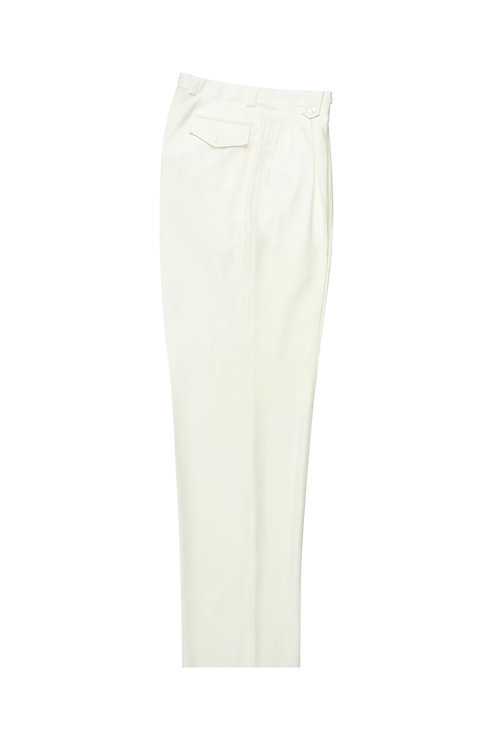 Off-white Wide Leg, Pure Wool Dress Pants by Riccardi Clothier Off-white