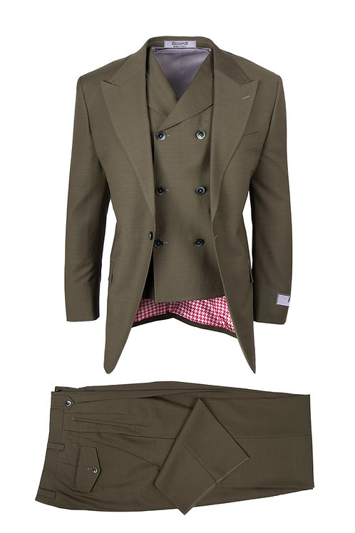 San Giovesse , Pure Wool, Wide Leg S&V by Riccardi Clothier OLIVE