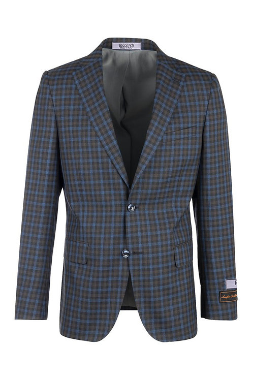 Blue jean with camel and brown checkered Modern Fit, Pure Wool Jacket LV47862/2