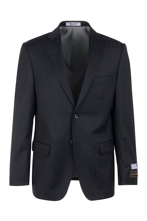 Dark Navy with dollar pattern Modern Fit, Pure Wool Jacket CR23410/3