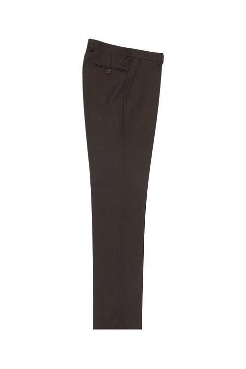 Brown Birdseye Flat Front, Pure Wool Dress Pants by Riccardi Clothier RIC7018/7