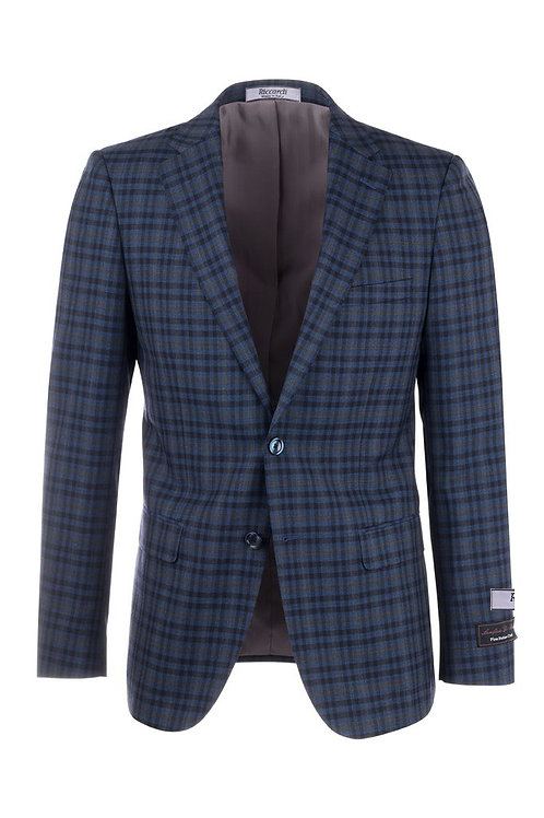 Blue with Black and Gray Windowpane Slim Fit, Pure Wool Jacket 47590/1
