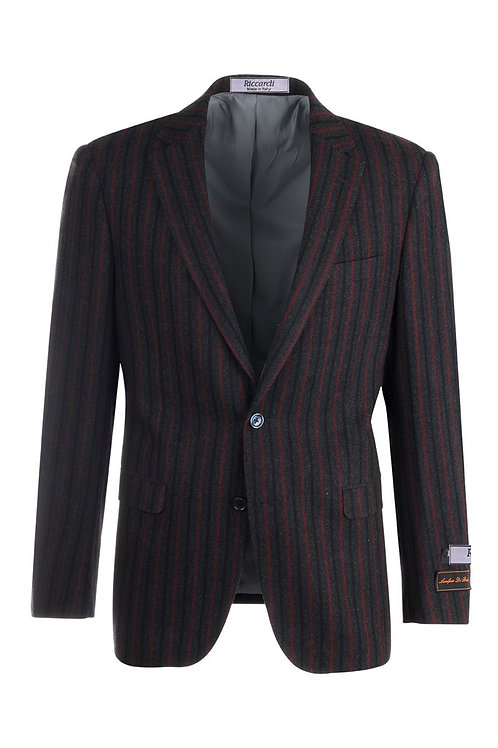Granite Gray, Red and Black Stripe Modern Fit, Pure Flannel Wool Jacket R4372/1