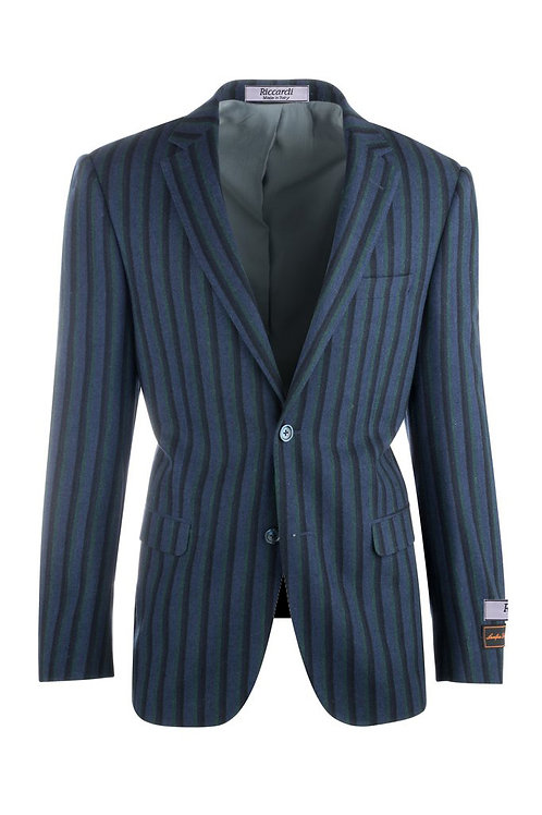 Royal Blue with Navy and Green Stripes Pure Wool Jacket R4373/1