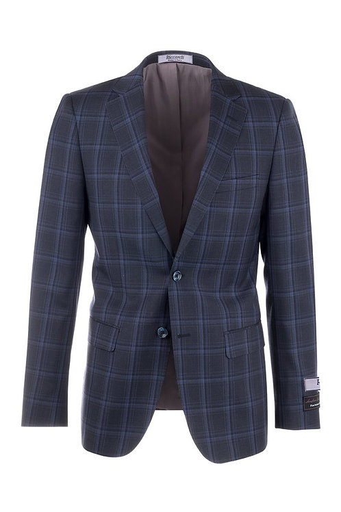 Navy Blue with Royal Blue Windowpane Slim Fit, Pure Wool Jacket 74232/1