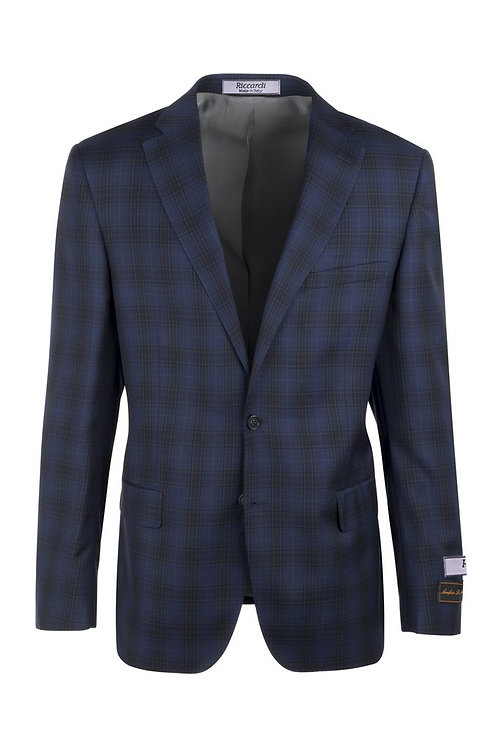 Midnight blue with black windowpane Modern Fit, Pure Wool Jacket LR74309/1