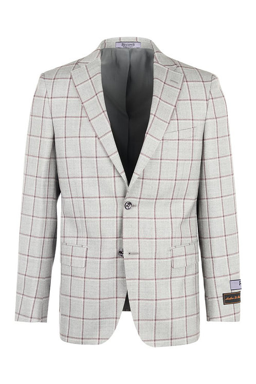 Gray with wine and withe windowpane Modern Fit, Pure Wool Jacket CG8802F/511/4
