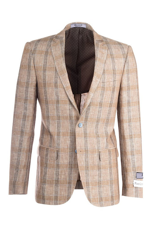 Tan with Gray and Brown Lines, Windowpane Slim Fit, Linen Jacket RS5628/B