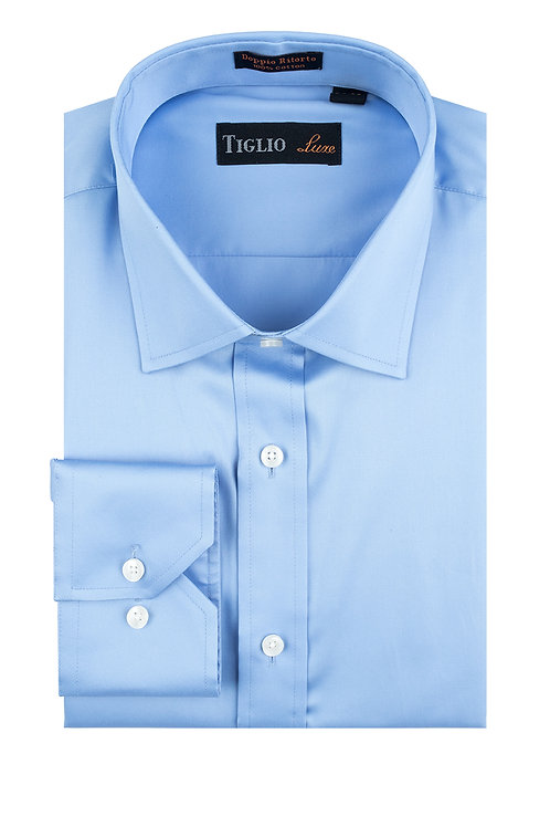 Blue Dress Shirt, Barrel Cuff, by Riccardi Clothier RIC3013