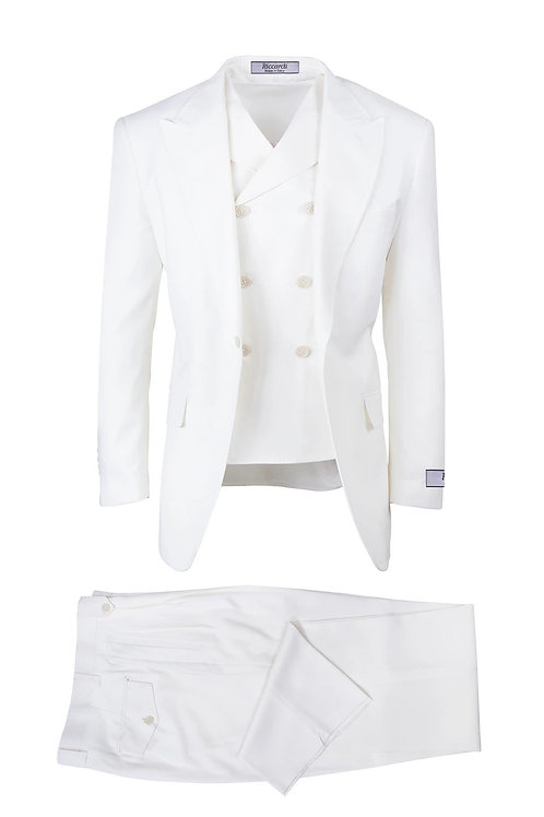 San Giovesse , Pure Wool, Wide Leg S&V by Riccardi Clothier Off-White