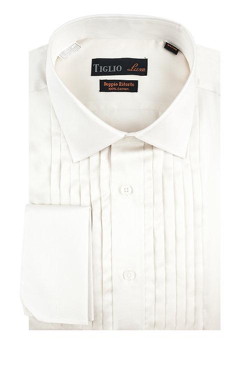 Off White Tuxedo Shirt, French Cuff, by Riccardi Clothier TIG3015