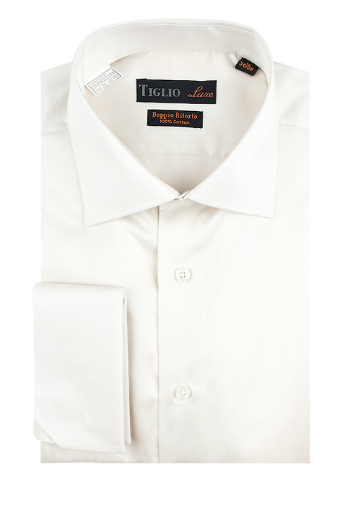Off White Dress Shirt, French Cuff, by Riccardi Clothier TIG3015