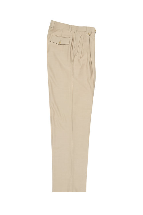 Tan Wide Leg, Pure Wool Dress Pants by Riccardi Clothier RIC1004