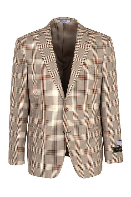Toupe with brown and rust windowpane, Modern Fit, Pure Wool Jacket 444123/2