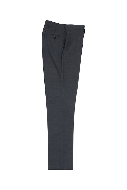 Charcoal Gray Flat Front, Pure Wool Dress Pants by Riccardi Clothier RIC1010