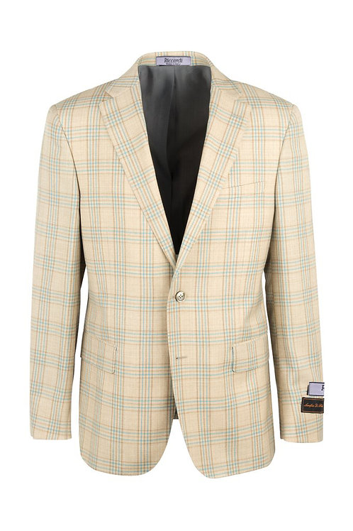 Oatmeal with orange blue windowpane Modern Fit, Pure Wool Jacket 8878F/536/1