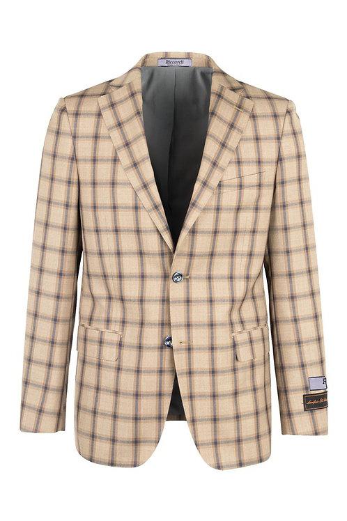 Mocha with navy windowpane, Modern Fit, Pure Wool Jacket RT92259/5