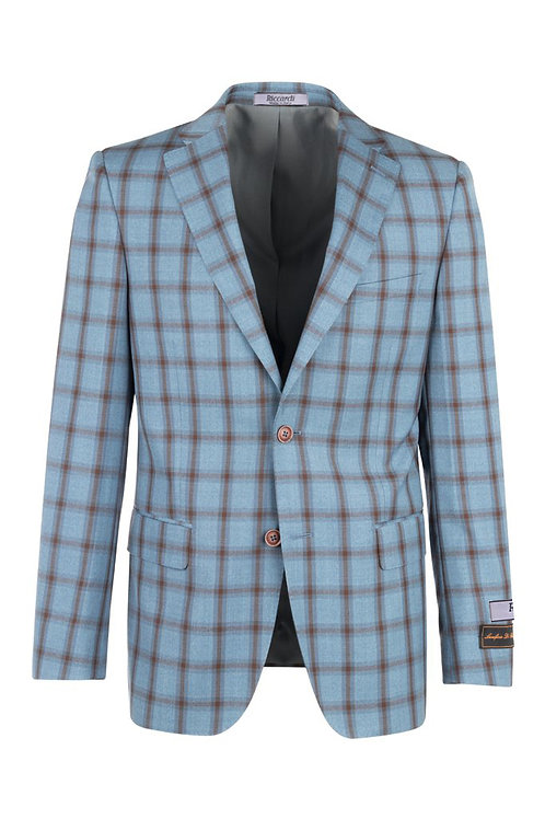 Blue Jean and Brown windowpane Modern Fit, Pure Wool Jacket RT92259/3