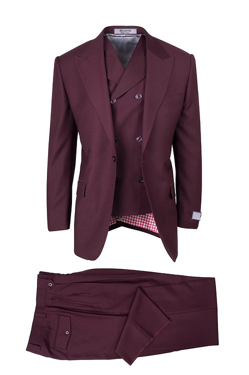 San Giovesse , Pure Wool, Wide Leg S&V by Riccardi Clothier BURGUNDY