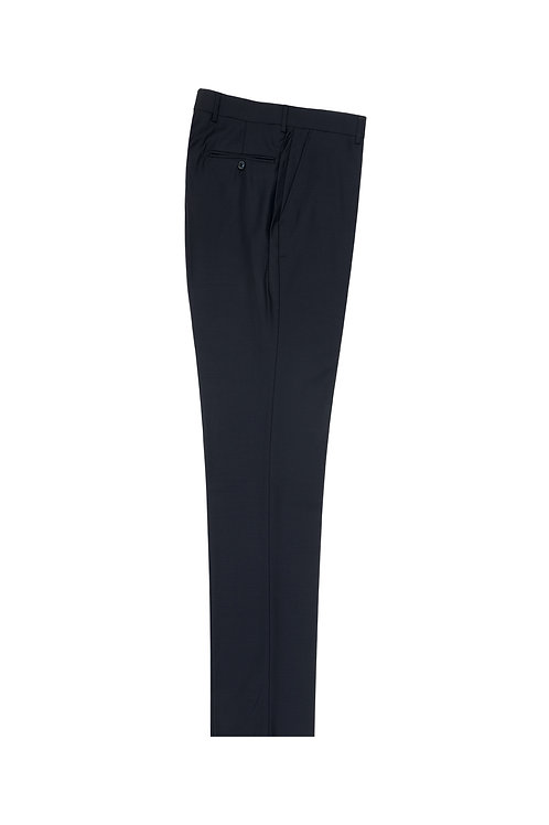 Navy Flat Front, Pure Wool Dress Pants by Riccardi Clothier RIC1002