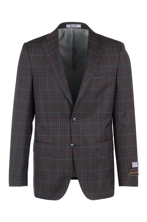 Burgundy with blue windowpane, Modern Fit, Pure Wool Jacket LR74343/1