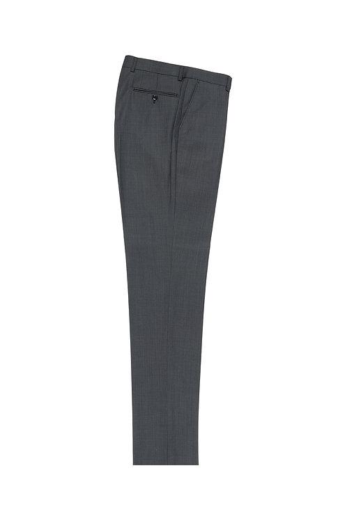 Gray Birdseye Flat Front, Pure Wool Dress Pants by Riccardi Clothier RIC7018/4