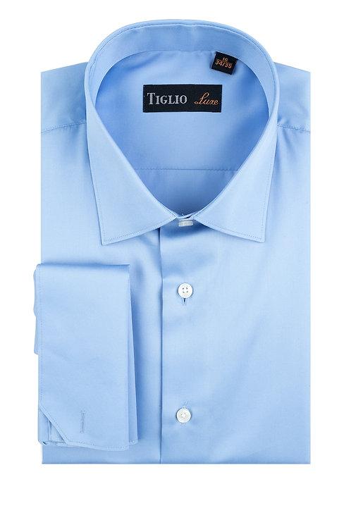 Blue Dress Shirt, French Cuff, by Riccardi Clothier TIG3013