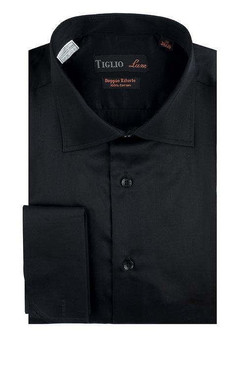 Black Dress Shirt, French Cuff, by Riccardi Clothier TIG3014