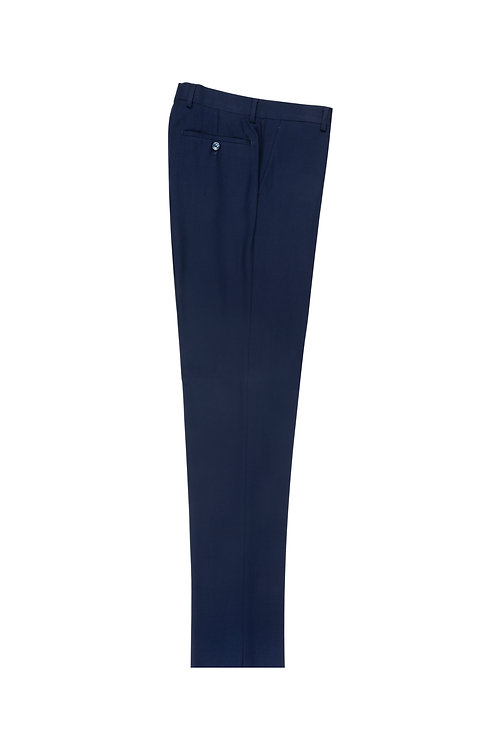French Blue Slim Fit, Pure Wool Dress Pants by Riccardi Clothier RIC5966