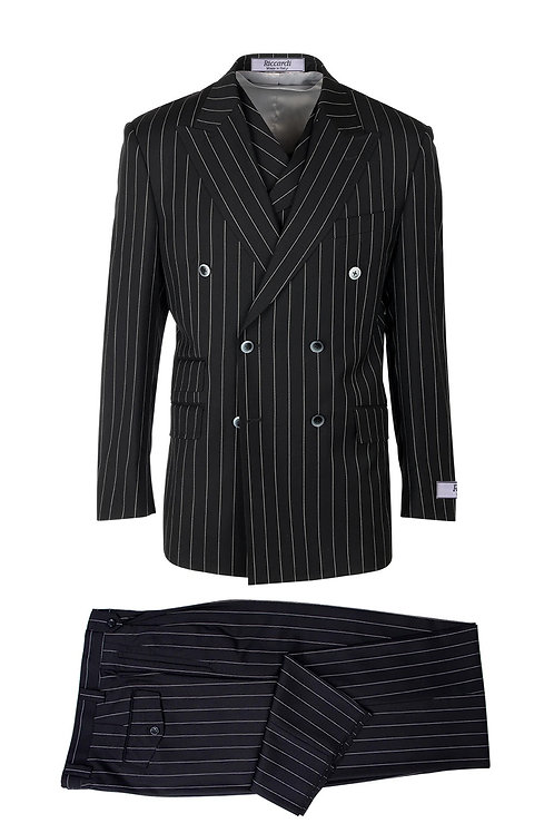 Black Pin-Stripe, Pure Wool, Wide Leg Suit & Vest by Riccardi clothier RIC1052