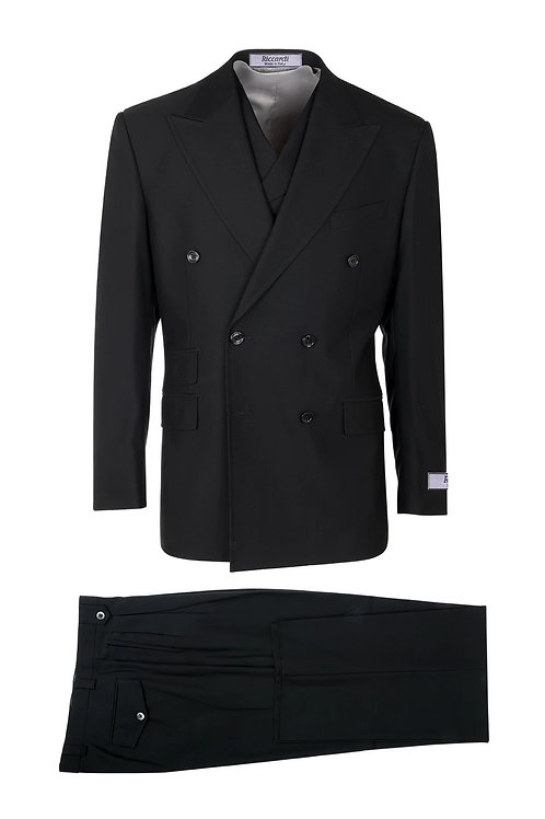 Black, Pure Wool, Wide Leg Suit &Vest by Riccardi clothier RIC1001