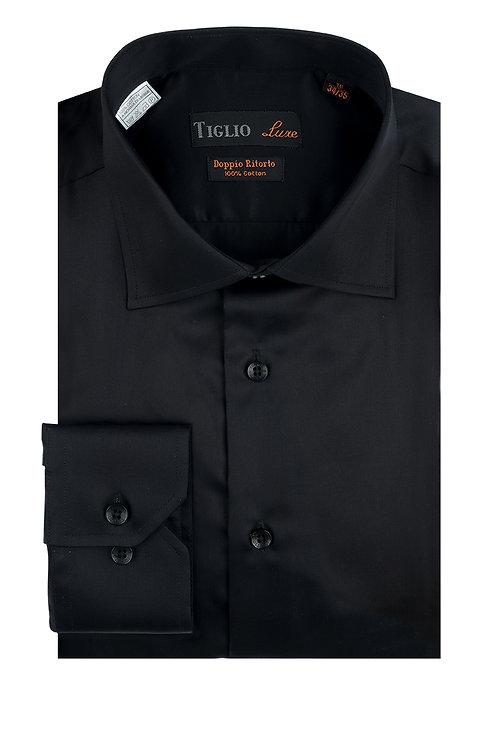 Black Dress Shirt, Barrel Cuff, by Riccardi Clothier TIG3014