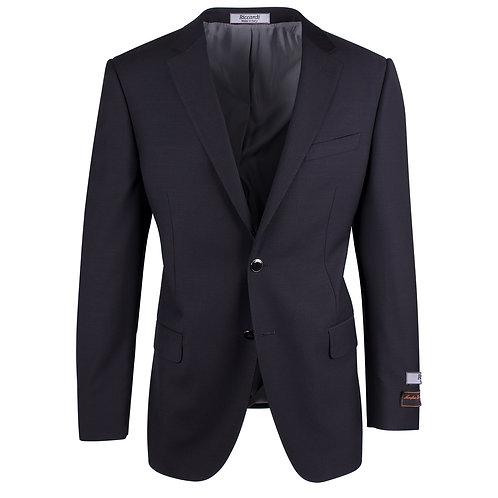 Novello Black Modern Fit Pure Wool Blazer by RICCARDI CLOTHIER RIC1001