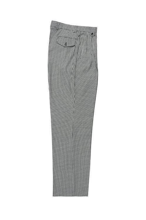 B&W Check Patter Wide Leg, Pure Wool Dress Pants by Riccardi Clothier RS5224/1