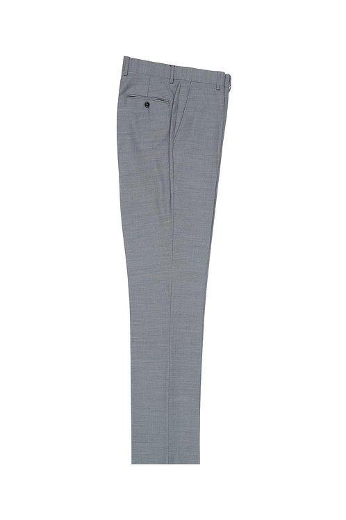 Light Gray Flat Front, Pure Wool Dress Pants by Riccardi Clothier RIC09063/26