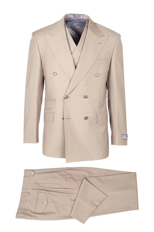 Tan, Pure Wool, Wide Leg Suit & Vest by Riccardi clothier RIC1004