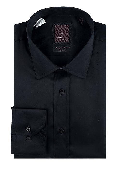 Black Slim Fit Barrel Cuff, by Riccardi Clothier TIG3014