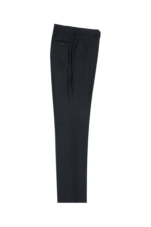 Black Flat Front, Pure Wool Dress Pants by Riccardi Clothier RIC1001