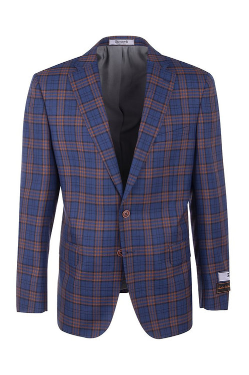 F.blue with orange and black Modern Fit,Pure Wool Jacket 7223M/302/1